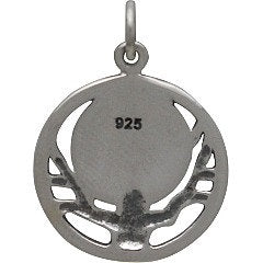 Bat Moon and Tree Necklace - Solid 925 Sterling Silver