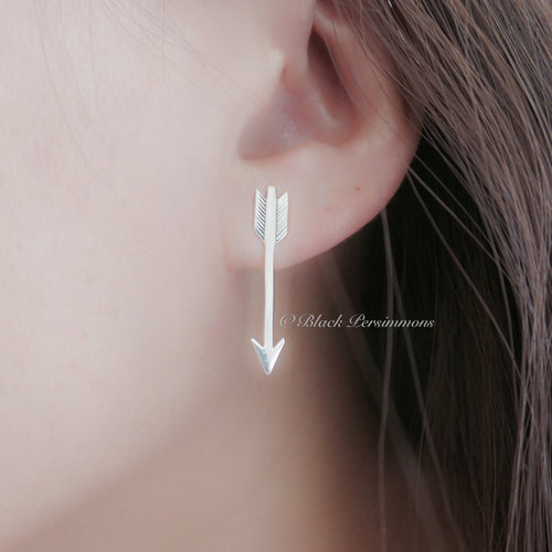 Large Arrow Post Earrings - Solid 925 Sterling Silver