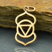 Third Eye Necklace - Natural Bronze Pendant - 14K Gold Filled Delicate Chain - Insurance Included