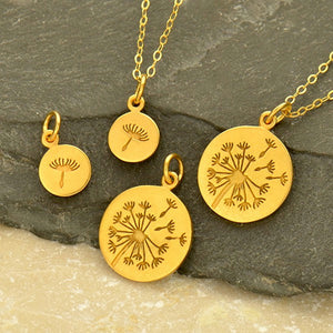 Dandelion Necklace Set - Solid 925 Sterling Silver Vermeil Charms - Insurance Included