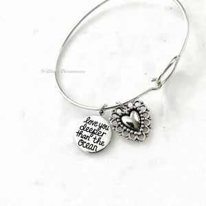 Love You Bigger Than the Sky Love You Deeper Than The Ocean Heart Charm Bangle Bracelet - Solid 925 Sterling Silver
