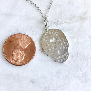 Sugar Skull Necklace - Large Mexican Solid 925 Sterling Silver Dia de los Muertos Halloween Day of the Day Dead - Insurance Included