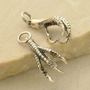 Bird Claw 3D Charms Earrings - Solid 925 Sterling Silver