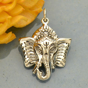 Ganesha Elephant Headed Hindu God Pendant Necklace - Solid 925 Sterling Silver