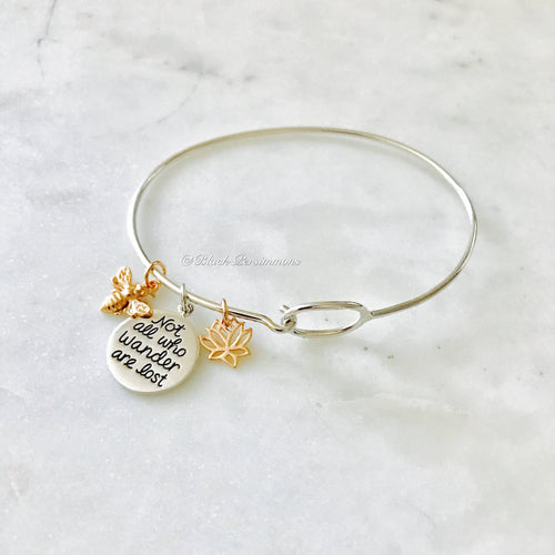 Not All Who Wonder Are Lost with Lotus Flower Bee Charm Bangle Bracelet - Solid 925 Sterling Silver 18k Rose Gold Plate
