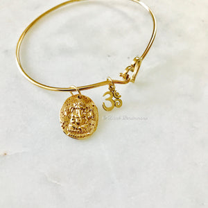 Ancient Ganesha Coin with Ohm Charm Bangle Bracelet - Natural Bronze