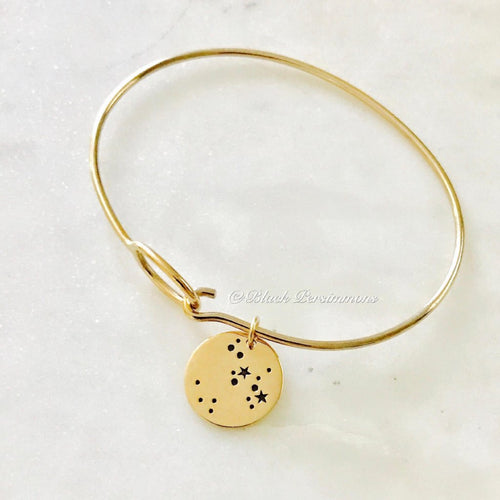 SAGITTARIUS Zodiac Constellation Disc Charm Bangle Bracelet - Natural Bronze - Insurance Included