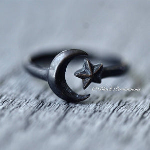 Adjustable Moon and Star Ring - Oxidized Patina Solid 925 Sterling Silver