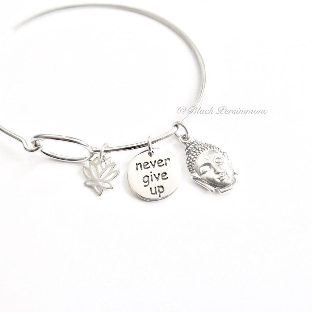 Never Give Up with Lotus Flower & Shakyamuni Buddha Charm Bangle Bracelet - Solid 925 Sterling Silver