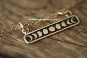 Etched Moon Phases Festoon Necklace - Solid Natural Bronze