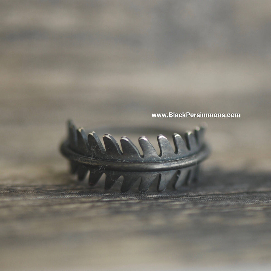Hand Oxidized Fern Leaf Ring - Patina Solid 925 Sterling Silver