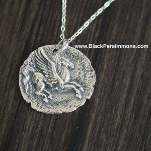 Ancient Pegasus Coin Pendant Necklace - Solid 925 Sterling Silver