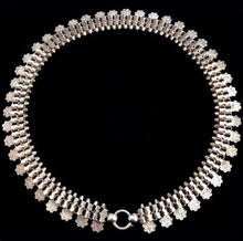 1881 Antique Victorian Sterling Silver Collar Book Chain Choker with Engraved Charms Necklace