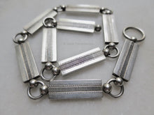 1877 Antique Victorian Sterling Silver Chunky Rectangular Links Collar Book Chain Choker Necklace with Shark Tooth Pendant