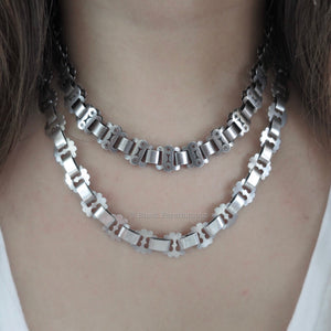 Antique Victorian Sterling Silver Collar Book Chain Choker Engraved Designs Necklace