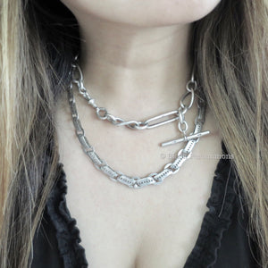 Antique Victorian Sterling Silver Long Collar Book Chain with Heart Design Necklace