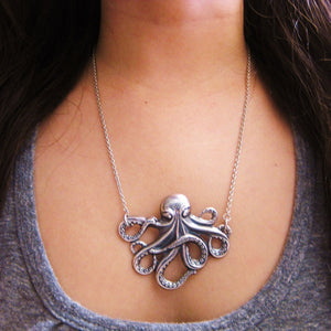 The Octopus Necklace - Antique Sterling Silver Plated Brass
