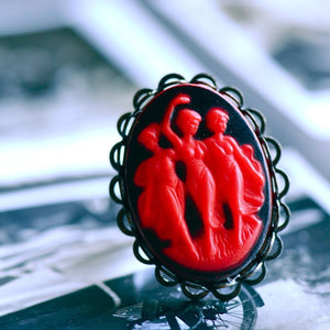 The Sirens Necklace - BLACK RED Vintage German Glass Cameo - Insurance Included