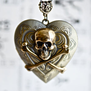 Love Affair Necklace - Skull Crossbones Heart Bronze Brass Locket