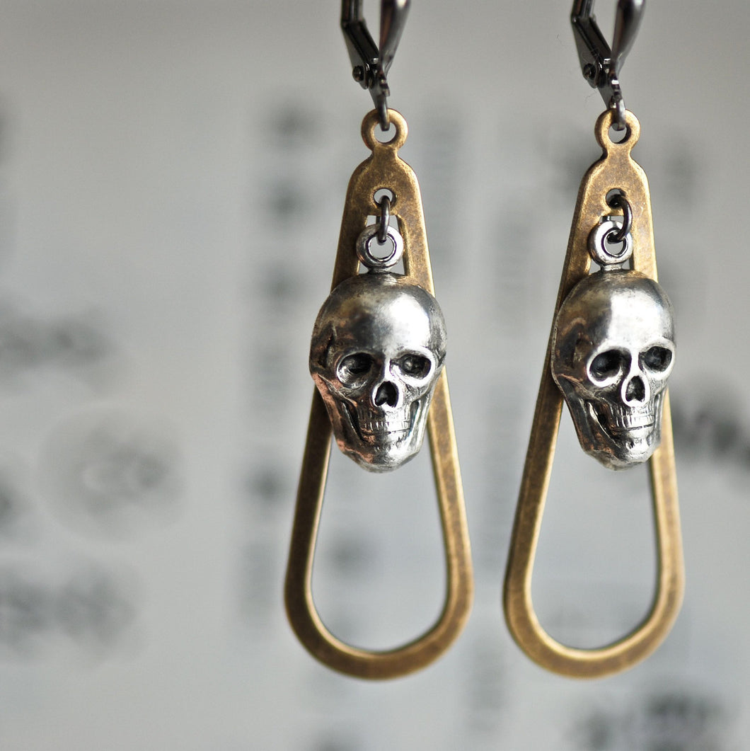 DIXIE - Victorian Ornate Gothic Skull Earrings - Made in USA Components - Insurance Included