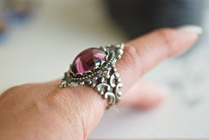 Katherine  - VIctorian Goth  Amethyst  Swarovski Cameo Ring - SOLDERED - Made in USA brass