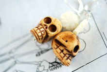 Alejandra Earrings - Day of the Dead Carved Ivory Coral Flowers Ox Bone Skulls - Solid 925 Sterling Silver Findings