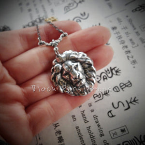 The Lion Necklace - Antique Sterling Silver Plated Brass - Small