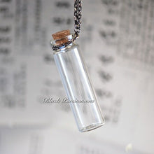 Long Empty Bottle Necklace - Clear Glass with Cork Lid