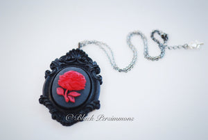 A Steam Red Rose Flower Cameo Necklace -