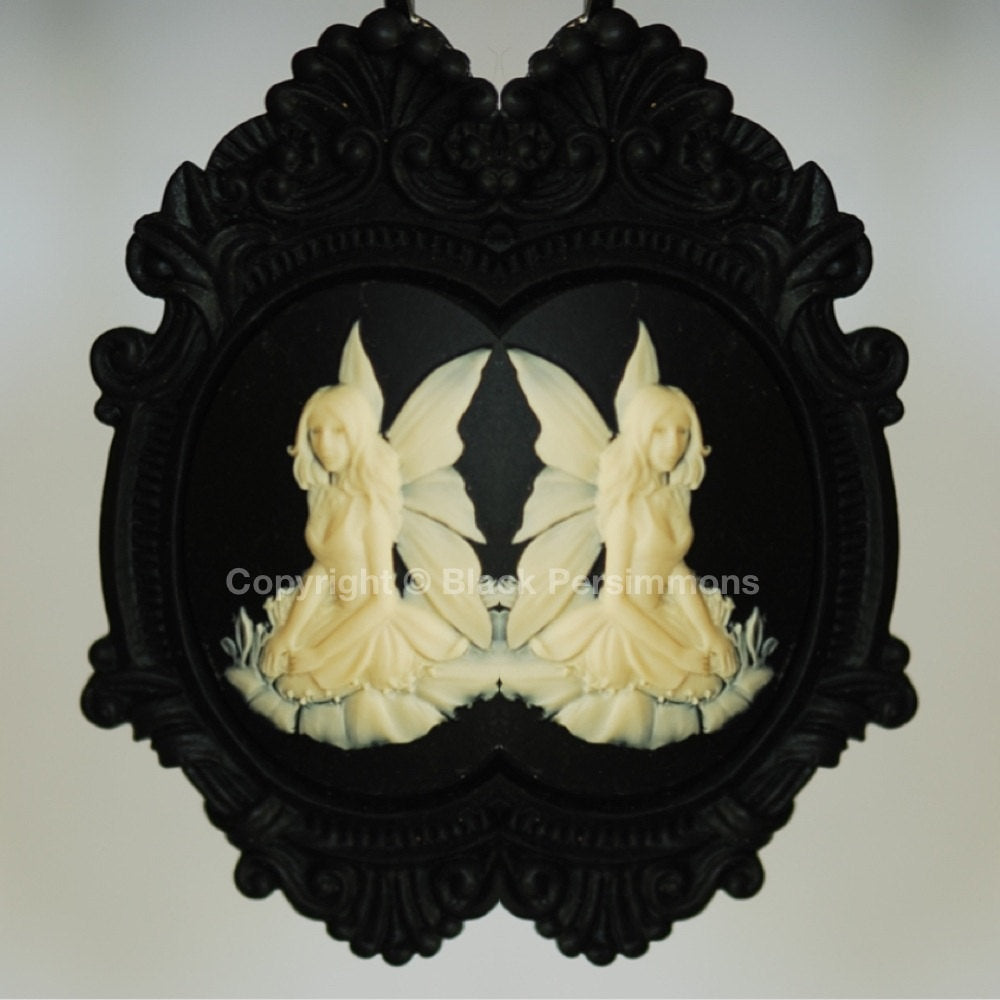 Titania Black Ornate Victorian Necklace - Ivory Black Cameo 40x30mm
