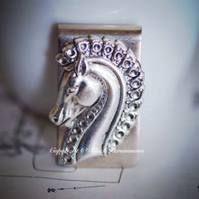 Pterippus Money Clip - Greek Winged Horse God Pegasus Antique Sterling Silver Plated Brass Stamping - Stainless Steel Clip