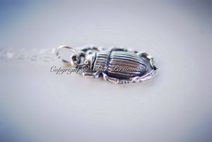 Baby Beetle Charm Necklace - Solid 925 Sterling Silver