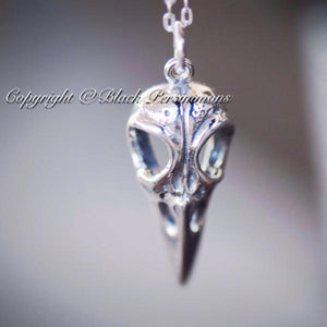 Aves Bird Skull Pendant Necklace - Solid 925 Sterling Silver