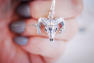 Ovis Canadensis Nelsoni Necklace - Bighorn Sheep Skull Solid Sterling Silver Pendant Charm - Insurance Included