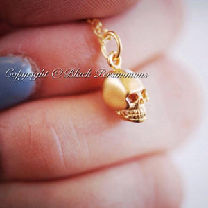 Tiny Skull Charm Necklace - Satin 24K Gold Plated Sterling Silver