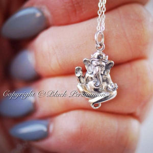 Ganesha Hindu God Charm Necklace - Solid 925 Sterling Silver