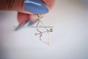 Bow And Arrow Necklace - Large Solid 925 Sterling Silver Pendant Charm - Insurance Included