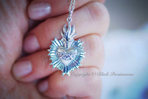 Sacred Flaming Heart with Thorns Necklace - Sterling Silver Charm Pendant - Insurance Included