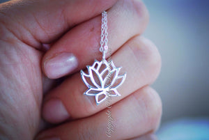 Renge Lotus Flower Charm Necklace - Solid 925 Sterling Silver