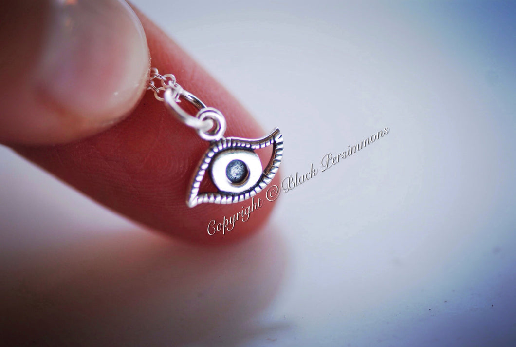 Evil Eye Necklace - Solid 925 Sterling Silver Charm - Insurance Included