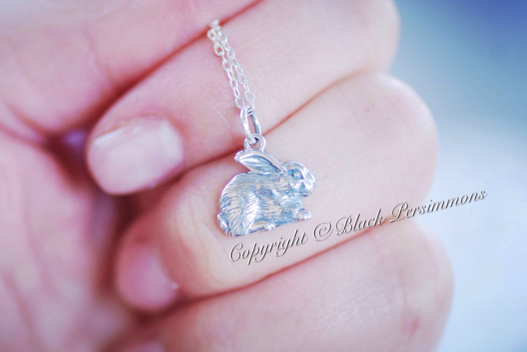 Bunny Rabbit Necklace - Solid 925 Sterling Silver Year of the Rabbit Charm Pendant -  Insurance Included