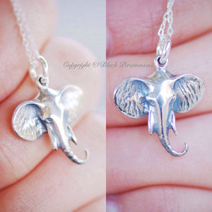 Elephant Head Necklace - Solid 925 Sterling Silver Auspicious Feng Shui Charm -  Insurance Included