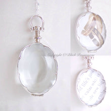 Handcrafted Scalloped Oval Antique Glass Locket Pendant Necklace - Solid 925 Sterling Silver