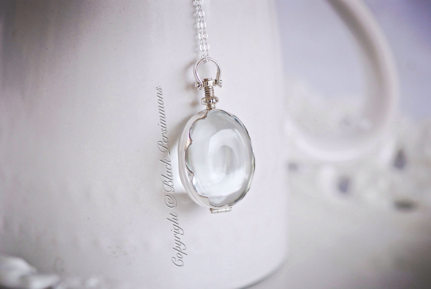 Handcrafted scalloped oval antique glass locket pendant necklace handcrafted scalloped oval antique glass locket pendant necklace solid 925 sterling silver mozeypictures Choice Image