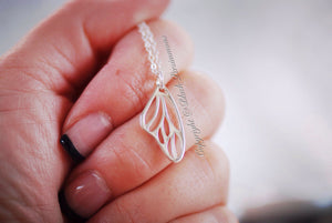 Butterfly Wing Necklace - Solid 925 Sterling Silver Auspicious Love Creativity Long Life Feng Shui Symbol Charm - Insurance Included