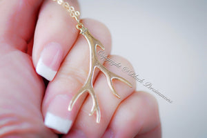 Deer Antler Necklace No. 2 - Natural Bronze Pendant 14K Gold Filled Delicate Chain - Insurance Included