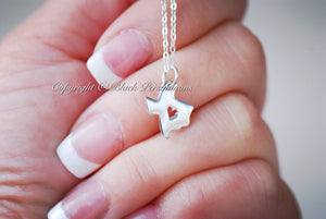 I Love Texas State Necklace - Solid 925 Sterling Silver Pendant - Insurance Included