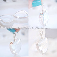 Handcrafted Scalloped Heart Antique Glass Locket Pendant Necklace - Solid 925 Sterling Silver