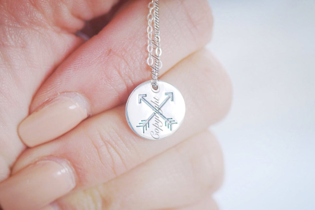 Friendship Arrows Necklace - Sterling Silver Disc Pendant Charm - Insurance Included