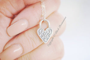 Heart Lock Necklace - Sterling Silver Victorian Padlock Charm Pendant  - Insurance Included